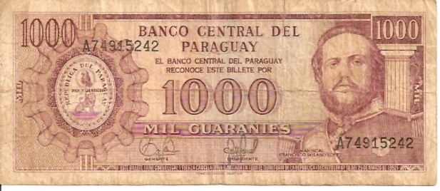 Banco Central Del Paraguay  1000 Guaranies  1963 Issue Dimensions: 200 X 100, Type: JPEG