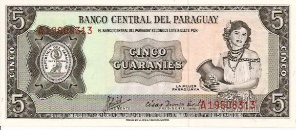 Banco Central Del Paraguay  5 Guaranies  Aug 1963 Issue Dimensions: 200 X 100, Type: JPEG