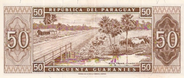 Banco Central Del Paraguay  50 Guaranies  1963 Issue Dimensions: 200 X 100, Type: JPEG
