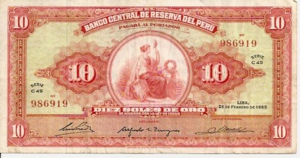 Banco Central De Reserva Del Peru  10 Soles De Oro  1962 -1964 Issue Dimensions: 200 X 100, Type: JPEG