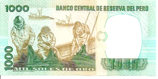 Banco Central De Reserva Del Peru  1000 Soles De Oro  1976 Issue Dimensions: 200 X 100, Type: JPEG