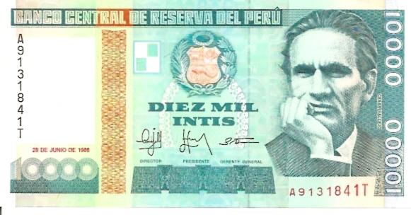 Banco Central De Reserva Del Peru  10000 Intis   1984 Issue Dimensions: 200 X 100, Type: JPEG