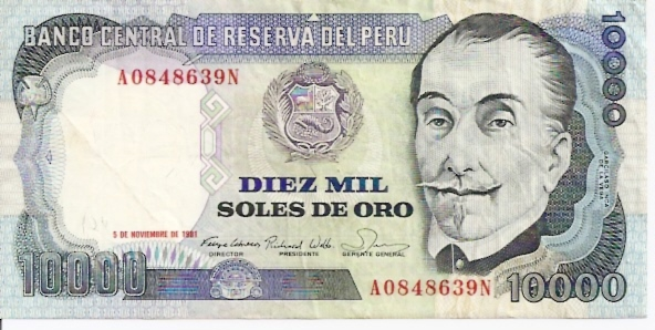 Banco Central De Reserva Del Peru  10000 Soles De Oro  1974 Issue Dimensions: 200 X 100, Type: JPEG