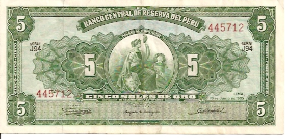 Banco Central De Reserva Del Peru  5 Soles De Oro  1962 - 1964 Issue Dimensions: 200 X 100, Type: JPEG