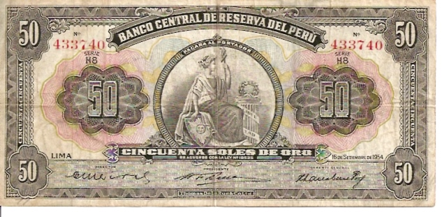 Banco Central De Reserva Del Peru  50 Soles De Oro  1962 -1964 Issue Dimensions: 200 X 100, Type: JPEG