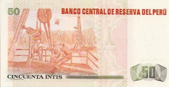 Banco Central De Reserva Del Peru  50 Intis   1984 Issue Dimensions: 200 X 100, Type: JPEG