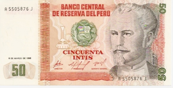 Banco Central De Reserva Del Peru  50 Intis   1984 Issue Dimensions: 200 X 100, Type: JPEG