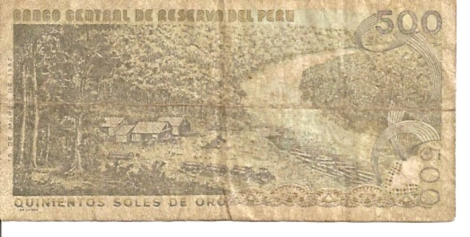 Banco Central De Reserva Del Peru  500 Soles De Oro  1976 Issue Dimensions: 200 X 100, Type: JPEG