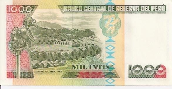 Banco Central De Reserva Del Peru  1000 Intis  1984 Issue Dimensions: 200 X 100, Type: JPEG