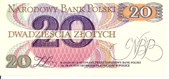 Polish National Bank  20 Zlotych  1977 Issue Dimensions: 200 X 100, Type: JPEG