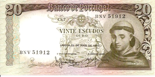 Banco De Portugal  20 Escudos  1964-1966 Issue Dimensions: 200 X 100, Type: JPEG