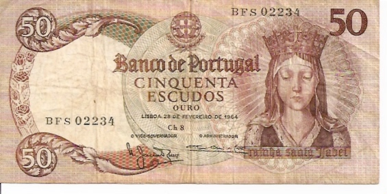 Banco De Portugal  50 Escudos  1964-1966 Issue Dimensions: 200 X 100, Type: JPEG