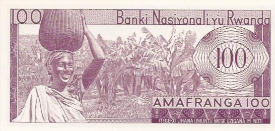 Banki Nasiyonali Y'u Rwanda  100 Francs  1962 Provisional Issue Dimensions: 200 X 100, Type: JPEG