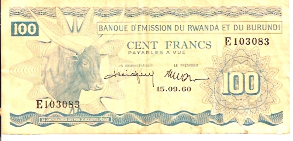 Banque D'mission DU Rwanda ET DU Burundi  100 Francs  Sep 15 1960 Issue  Dimensions: 200 X 100, Type: JPEG
