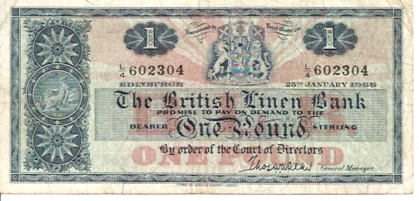 The British Linen Bank  1 Pound  Jan 1966 Issue Dimensions: 200 X 100, Type: JPEG