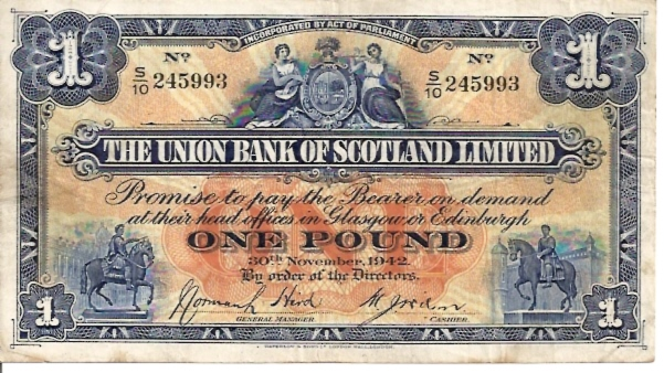 The Union Bank of Scotland Limited  1 Pound  Nov 1942 Issue Dimensions: 200 X 100, Type: JPEG
