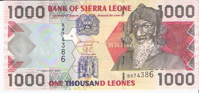 Bank of Sierra Leone  1000 Leones  1988-1993 Issue Dimensions: 200 X 100, Type: JPEG
