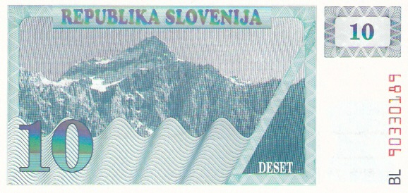Republika Slovenija  10 Tolarjev  1990-1993 Issue Dimensions: 200 X 100, Type: JPEG