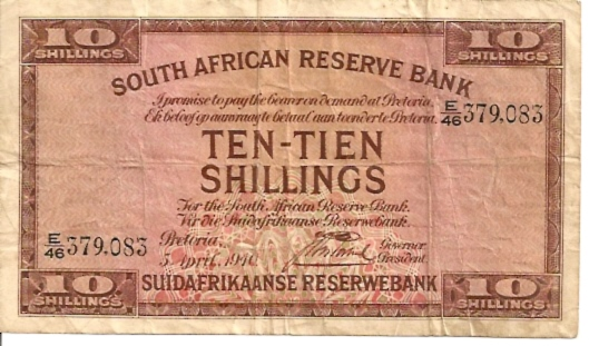 Suidafrikaanse Reserwe Bank  10 Schilling  1940 Issue Dimensions: 200 X 100, Type: JPEG