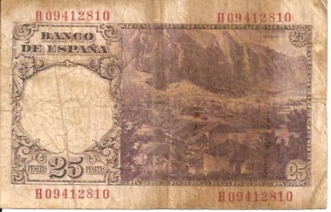 Banco De Espana  25 Pesetas  1965 Issue Dimensions: 200 X 100, Type: JPEG