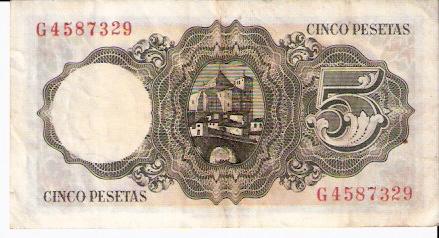 Banco De Espana  5 Pesetas  1982-1985 Issue Dimensions: 200 X 100, Type: JPEG