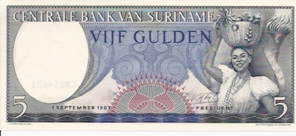 Centrale Bank Van Suriname  1 Gulden  1963 Issue Dimensions: 200 X 100, Type: JPEG