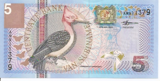 Centrale Bank Van Suriname  5 Gulden  No Date Issue Dimensions: 200 X 100, Type: JPEG