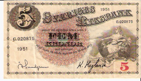 Sveriges Riksbank  5 Kronor  1952-1955 Issue Dimensions: 200 X 100, Type: JPEG