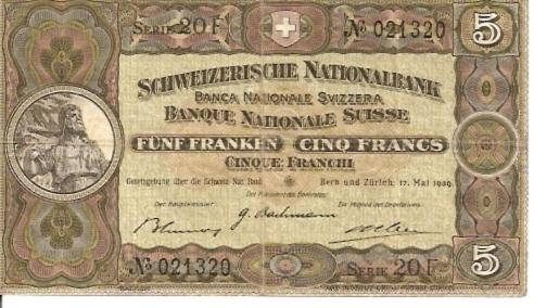 Schweizerische National Bank  5 Francs  1939 Issue Dimensions: 200 X 100, Type: JPEG