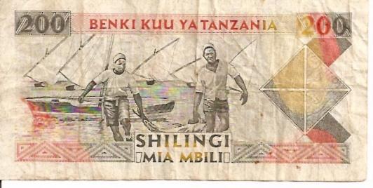 Benki Kuu Ya Tanzania  200 Shilingi  1989-1992 ND Issue Dimensions: 200 X 100, Type: JPEG