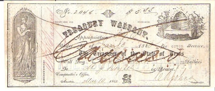 Treasury Warrant  10 Dollars  1853 Issue  Not in circulation anymore  AKA - Broken Notes Dimensions: 200 X 100, Type: JPEG