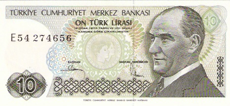 Central Bank of Turkey  10 Liras  1975-1978 ND Issue Dimensions: 200 X 100, Type: JPEG