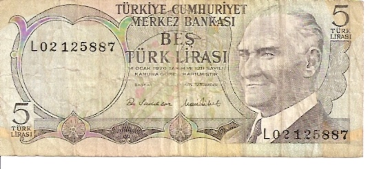 Central Bank of Turkey  5 Liras  1961-1965 ND Issue Dimensions: 200 X 100, Type: JPEG