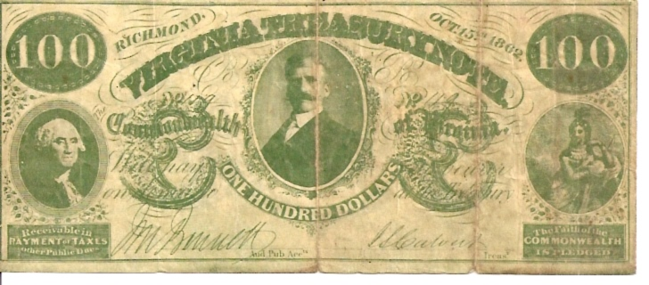 Virginia Treasury Note   100 Dollars  1862 Issue  Not in circulation anymore  AKA - Broken Notes Dimensions: 200 X 100, Type: JPEG