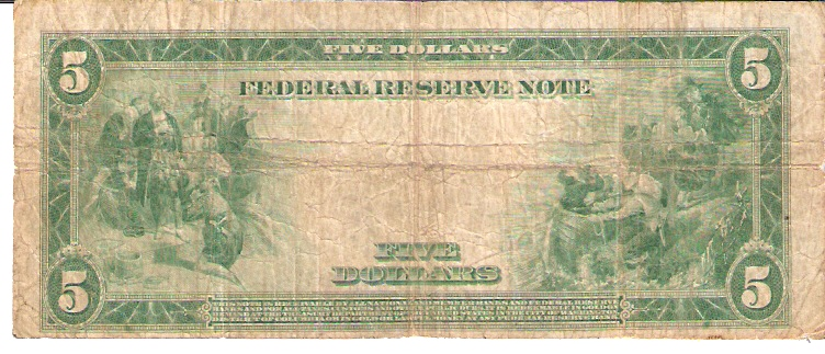 United States of America  Federal Reserve Note  5 Dollars  December 23, 1913 Dimensions: 200 X 100, Type: JPEG