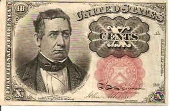 United States of America  Fractional Currency  10 Cents  1864 Issue Dimensions: 200 X 100, Type: JPEG