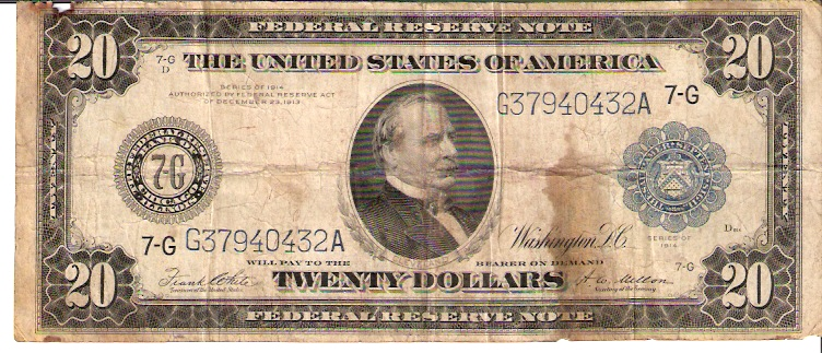United States of America  20 Dollars  December 1913  Federal Reserve Note Dimensions: 200 X 100, Type: JPEG