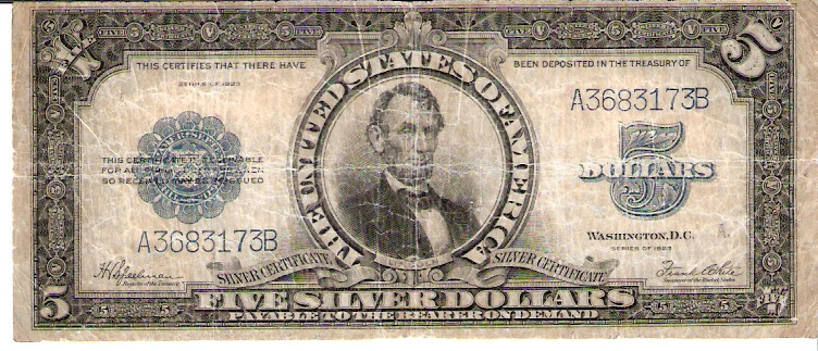 United States of America  5 Dollar (Silver Certificate)  1923 Series   Dimensions: 200 X 100, Type: JPEG