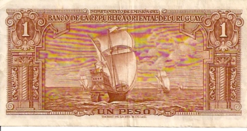 Banco Central DEL Uruguay  1 Peso  1967 ND Provisional Issue Dimensions: 200 X 100, Type: JPEG