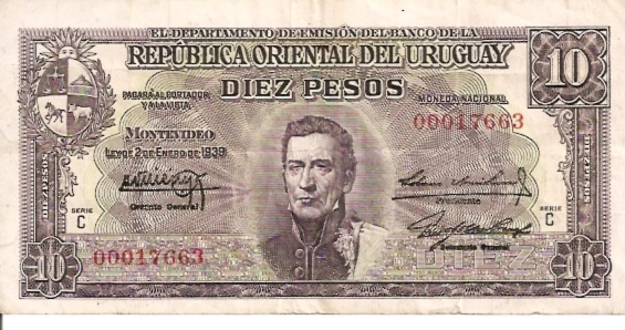 Banco Central DEL Uruguay  10 Peso  1978 - 1988 ND Issue Dimensions: 200 X 100, Type: JPEG