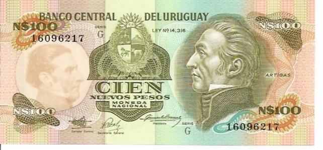 Banco Central DEL Uruguay  100 Peso  1978 - 1988 ND Issue Dimensions: 200 X 100, Type: JPEG
