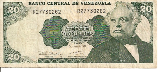 Banco Central DE Venezuela  20 Bolivares  1971-1974  Issue Dimensions: 200 X 100, Type: JPEG