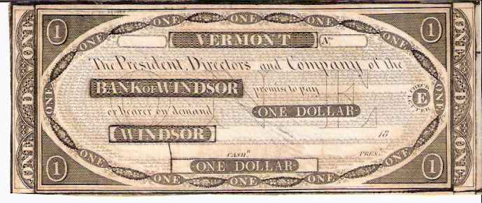 Bank of Windors   1 Dollars  1853 Issue  Not in circulation anymore  AKA - Broken Notes Dimensions: 200 X 100, Type: JPEG