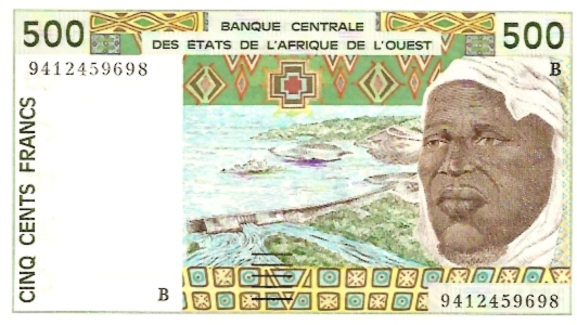 Banque Centrale  500 Francs  West African States. B-Benin Dahomey Dimensions: 200 X 100, Type: JPEG