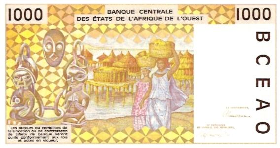 Banque Centrale  1000 Francs  West African States. D -Mali  Dimensions: 200 X 100, Type: JPEG