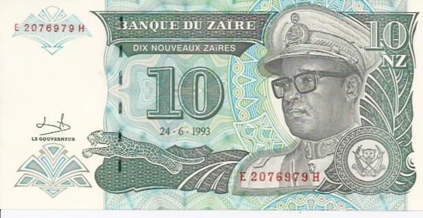 Banque DU Zaire  10 Zaire  1993 Issue Dimensions: 200 X 100, Type: JPEG