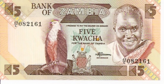 Bank of Zambia  5 Kwacha  1974 ND Issue Dimensions: 200 X 100, Type: JPEG