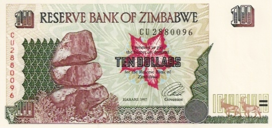 Reserve Bank of Zimbabwe  10 Dollars  1994-1997 Issue Dimensions: 200 X 100, Type: JPEG