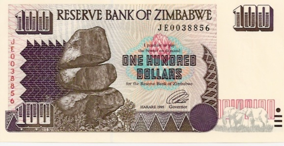 Reserve Bank of Zimbabwe  100 Dollars  1994-1997 Issue Dimensions: 200 X 100, Type: JPEG