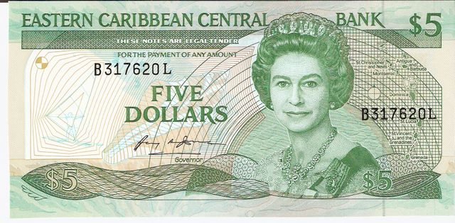 Eastern Caribbean Central Bank  5 Dollars  L - Saint Lucia  Dimensions: 200 X 100, Type: JPEG